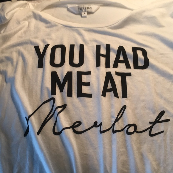 c500987f1a4 tiff   jen Tops - NWOT You Had Me At Merlot - Tied T-shirt